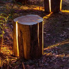 Legally Blind Artist Makes Cracked Log Lamps Bursting With Light