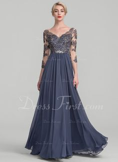 A-Line/Princess V-neck Floor-Length Zipper Up Sleeves 3/4 Sleeves No Stormy General Plus Chiffon Lace Height:5.7ft Bust:33in Waist:24in Hips:34in US 2 / UK 6 / EU 32 Mother of the Bride Dress
