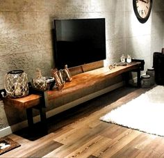visual result of natural wood tv unit - Wohnaccessoires Living Room Tv, Home And Living, Diy Furniture Plans, Furniture Design, Farmhouse Furniture, Interior Design Living Room, Living Room Designs, Natural Wood Furniture, Wooden Furniture
