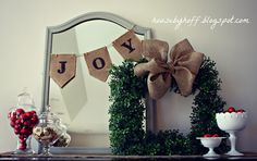 how to make a square boxwood wreath with burlap bow via housebyhoff.com