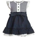 Baby Girls White & Blue Denim Cotton Dress CUTE!