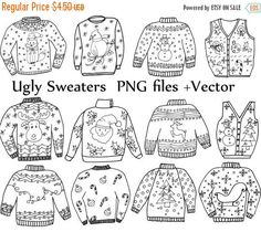 SALE50% Ugly Sweater ClipArt: CHRISTMAS CLIPART