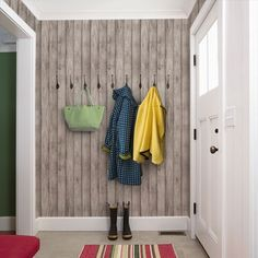 Grey Wood Peel & Stick Fabric Wallpaper Repositionable - Simple Shapes Wall Decals, Furniture, and Accessories White Brick Wallpaper, Wood Wallpaper, Wallpaper Samples, Self Adhesive Wallpaper, Peel And Stick Wallpaper, Brick Wallpaper Hallway, Wallpaper Patterns, Wallpaper Size, Textured Wallpaper