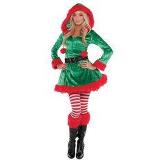 e754412e6ae89 Green Sassy Elf Adult Costume - Large Christmas Fancy Dress