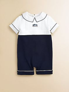 Ralph Lauren Layette's Colorblocked Shortall Little Boy Outfits, Toddler Boy Outfits, Kids Outfits, Boy Christening Outfit, Kids Nightwear, Peter Pan Collar Dress, Diy Couture, Cute Baby Clothes, Kind Mode
