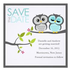 Gray and Aqua Owls Wedding Save the Date Personalized Invitation