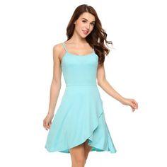 AdoreWe - Dresslink Blue Spaghetti Strap Sleeveless Faux Wrap Asymmetrical Dress - AdoreWe.com