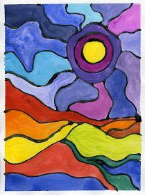 Colorful landscape art hour colorful art for children paint Painting For Kids, Art For Kids, Woman Painting, Art Children, Classe D'art, Glue Art, Paper Glue, 3rd Grade Art, School Art Projects