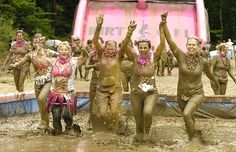 "Where PMS stands for ""pretty messy stuff."" Dirty Girl Mud Run is a women's only 5K. #running #mud #runs"