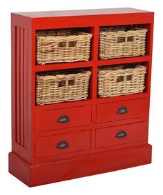 189.99-Jeffan Red Nantucket Storage Cabinet | zulily 30W X 9.5D X 35H