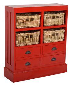 179.99-BY JEFFAN Red Nantucket Storage Cabinet 30W X 9.5D X35H