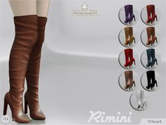 madlensims:  Madlen Rimini Boots Beautiful knee high boots! Come in 10 colours (leather texture). Joints are perfectly assigned. All LODs are replaced with new ones.Warning: These boots are not compatible with some pants, but they should work fine with skinny/painted jeans.You cannot change the mesh, but feel free to recolour it as long as you add original link in the description.If you can't see this creation in CAS, please update your game.If you're experiencing thumbnail problem, update…