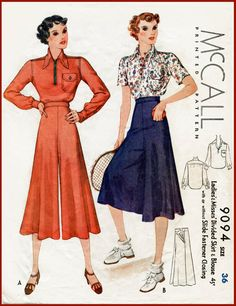 1930s 30s vintage sewing pattern blouse & wide leg sports