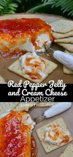 Pepper Jelly & Cream Cheese Appetizer - A Southern Soul Pepper Jelly & Cream Cheese Appetizer - A Southern Soul This appetizer is super quick and easy to make! Just two simple steps and you have a great Cream Cheese & Red Pepper Jelly Appetizer! Finger Food Appetizers, Appetizers For Party, Appetizer Recipes, Simple Appetizers, Christmas Appetizers, Birthday Appetizers, Party Snacks, Finger Food Recipes, Southern Appetizers