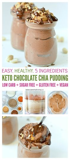 Recipes Breakfast Easy KETO CHOCOLATE CHIA SEED PUDDING with Almond milk is a smooth chocolate peanut butter healthy dessert or breakfast. Easy, gluten free, vegan, low carb, keto and whole 30 ! Chai Seed Pudding, Chia Pudding Almond Milk, Chocolate Chia Seed Pudding, Chocolate Almond Milk, Keto Chia Pudding, Pudding Desserts, Chia Seed Pudding Healthy, Chia Seed Almond Milk, Almond Pudding Recipe