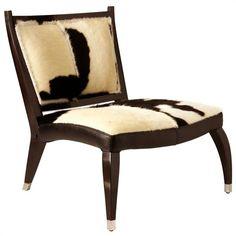 "Maverick Hide, Solid Mahogany Chair Black & White Hide/Black Lacquer Finish 30 1/2""Wx27""Dx32""H - 3022"