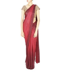 f31236830cae3a Double shaded shimmer lycra net pre stitched saree in oxblood and deep red