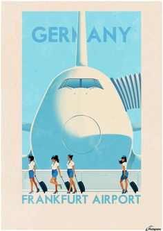 Germany Frankfurt Airport vintage poster Canvas Print