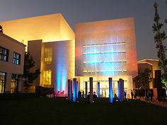 Samueli Theater at night in Costa Mesa, CA at Segerstrom Center for the Arts