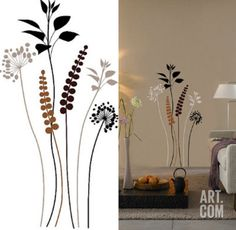 Grasses Brown Black 13 Wall Stickers Wall Decal at Art.com