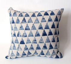 Geometric Triangle cushion cover Indigo, Linen cotton Hand printed 45x45