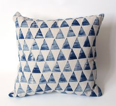 Geometric Triangle cushion cover Indigo, Linen cotton Hand printed 45x45