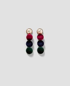 ZARA - WOMAN - FAUX PEARL AND VELVET EARRINGS