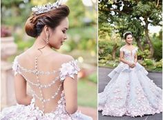 Floral Ball Gown,Off the Shoulder Layered Prom Dress,Custom Made Evening Dress,17208