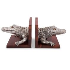"""For the book worm or Gator lover on your gift list, these impressive Alligator Bookends by Vagabond House feature two detailed pewter alligator heads, complete with scaly-patterned skin, wide toothy """"smiles"""", and captivating eyes."""