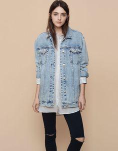 Pull&Bear - mulher - denim collection - blusão de ganga tipo boyfriend - azul claro - 05713310-I2015 Tamanho M