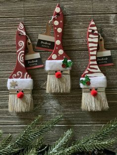 Christmas Bazaar Crafts, Handmade Christmas Crafts, Christmas Crafts For Adults, Santa Crafts, Christmas Ornament Crafts, Kids Christmas, Holiday Crafts, Christmas Decorations, Paint Brushes