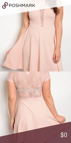 💕HP💕11/28 PINK LACE ILLUSIONS FIT & FLARE HOST PICK FOR STYLE CRUSHES!   11/28!  :)   DUSTY PINK LACE ILLUSIONS FIT & FLARE PLUS DRESS This a-line silhouette dress feature lace yoke and lace short sleeves. Has illusion sweetheart neckline and lace illusions open back.   Available in 1X, 2X and 3X  95% POLYESTER 5% SPANDEX Made in the USA Dresses