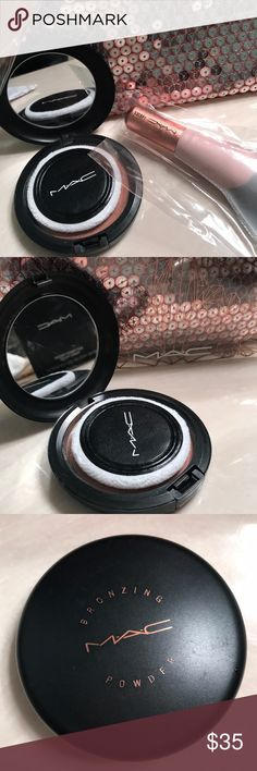 MAC HOLIDAY GIFT SET W BRAND NEW FIBER BRUSH! This is the holiday gift set bag, new powder brush #140SES (Macs newest fiber brush, made to be easier to clean and smoother application), MAC bronzer in (MATTE BRONZE), **product has been tested but clean! As you can see I still have the original plastic. MAC Cosmetics Makeup
