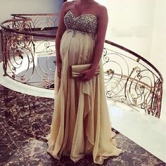 Crystal Beaded Pregnant Evening Dress Long Prom Pageant Maternity Reception Gown | Clothing, Shoes & Accessories, Wedding & Formal Occasion, Bridesmaids' & Formal Dresses | eBay!