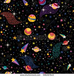 Cute Iphone Wallpaper Patterns Cartoon Space Background With Cartoon Planet And Stars