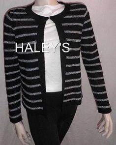 JNY Jones New York Signature Cardigan Sweater Size XL Black Silver Metallic New #JonesNewYork #Cardigan
