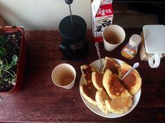 2014.8.8  mornning  / coffee  hotcake