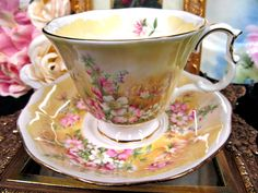ROYAL ALBERT TEA CUP AND SAUCER MEADOWS WITH DELIGHT PATTERN TEACUP