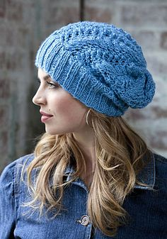 Free knitting pattern for Mimosa Beanie slouchy hat featuring wide ribbed brim and lace body