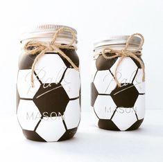Soccer Mason Jar, Soccer Gift, Kids Birthday Gift, Sports Nursery, Soccer Centerpieces,