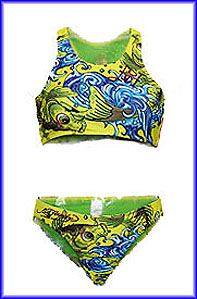 Ed hardy girls bikini  pic doesn't do this justice, lovely koi in vibrant yellows with diamante detail and purple glitter motif.I have just one of these, age 5/6 on the lable but its generous so id say would maybe stretch to a small 8 yr old.  RRP £ 50 my price £7.99+ postage.or if local you can collect for free!