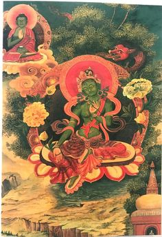 A postcard of a painting of Green Tara (Protection), the Buddha of enlightened activity in Vajrayana Buddhism. This postcard was published in the . Buddhist Prayer, Buddhist Art, Vajrayana Buddhism, Thangka Painting, Green Tara, Prayer Flags, Tibetan Buddhism, Buddha, Greeting Cards