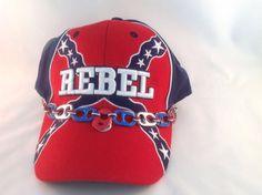 415deb2bf8cc4 New Rebel Baseball Cap With Confederate Flag Beer Tab Braid Johnny Reb Hat