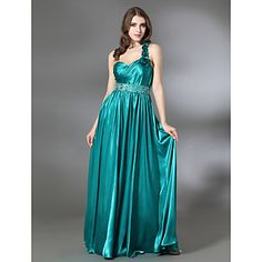 Sheath/ Column One Shoulder Floor-length Charmeuse Evening Dress – USD $ 149.99
