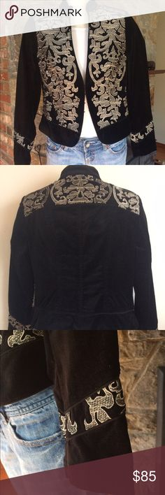 WHBM Black Velvet Baroque Embroidered Jacket Sold out must have item from WHBM. Black Velvet ornately scrolled & embellished w soft gold embroidery. Short regimental silhouette. stand collar. nipped waist. satin charmeuse piping. 72% cotton, 26% rayon, 2% spandex. hidden hook & eye closure. White House Black Market Jackets & Coats