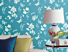 Beautiful wall paper with blue and white colour in wallflower design Asian Paints, Indian Homes, Beautiful Wall, Color Schemes, Cushions, Blue And White, Colour, Contemporary, Wallpaper