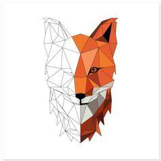 Geometric Art Tattoo, Geometric Drawing, Geometric Wallpaper, Animal Drawings, Art Drawings, Shadow Drawing, Polygon Art, Fox Art, Art Day