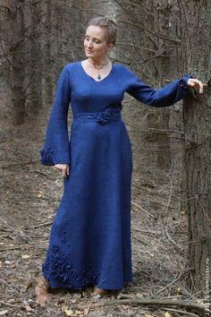 """Купить Двухстороннее теплое платье """"Гвенифер"""" - тёмно-синий, синий, Синее платье, длинное платье"""