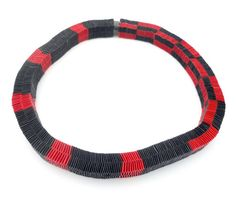 Contemporary Jewelry Minimalist red and black necklace Paper weaved jewelry Eco friendly necklace Art necklace Paper Statement Gift for her