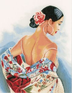 The Flower Scarf cross stitch kit features a breathtaking portrait of a beautiful lady of Spain. From Lanarte, the embroidery pattern captures. Cross Stitch Books, Cross Stitch Love, Cross Stitch Fabric, Modern Cross Stitch, Cross Stitch Kits, Cross Stitch Charts, Cross Stitching, Cross Stitch Patterns, Art Origami
